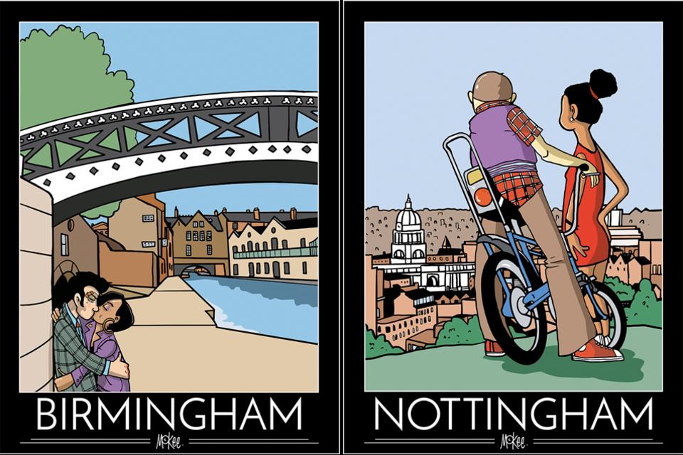 Carteles Birmingham y Nottingham por Pete McKee
