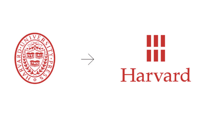 El logo de Harvard University Press diseñado por Chermayeff & Geismar & Haviv - antes y después