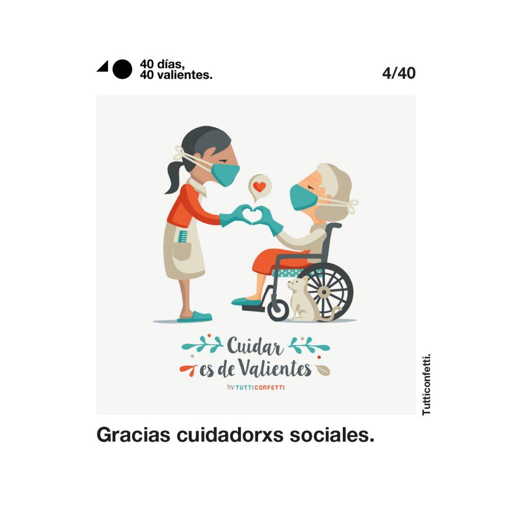 40 días, 40 valientes recoge ilustraciones dedicadas a los colectivos profesionales que están jugando un papel especial en la lucha contra el coronavirus