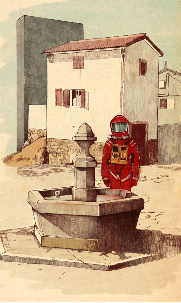 Personajes de la cultura popular en un pequeño pueblo de España durante el confinamiento