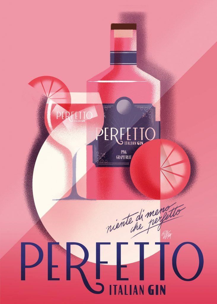 El nuevo branding de la ginebra italiana 'Perfetto' con ilustraciones de Riccardo Guasco