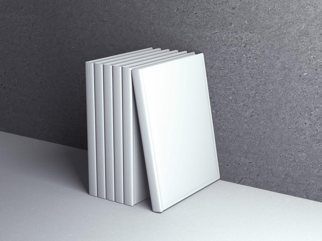 Maqueta de libro en blanco para hacer pruebas de impresión.
