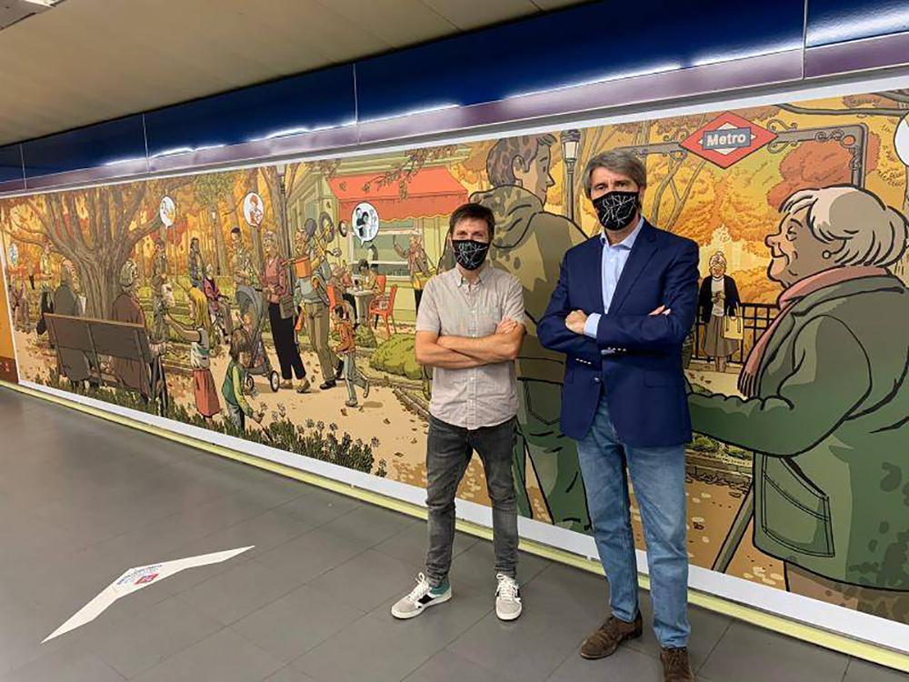 Metro Madrid homenajea a los mayores con un mural de Paco Roca. Paco Roca metro Madrid.