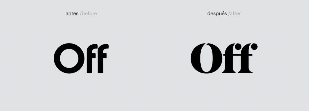 A antes y después del logo de Off Artes Escénicas