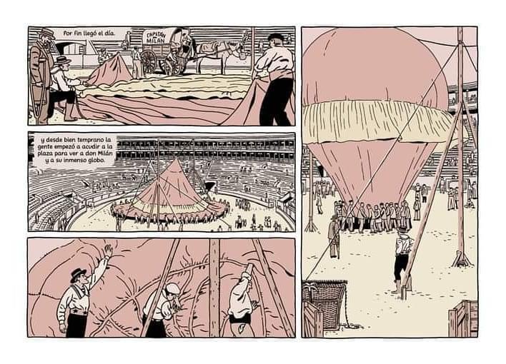 Viñeta del globo aerostático del nuevo cómic de Paco Roca