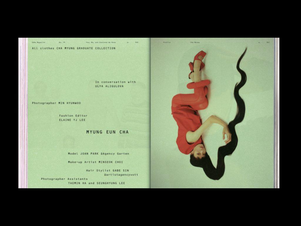 ODDA Magazine: el último proyecto de Naranjo-Etxeberria - Doble página interior con fondo verde