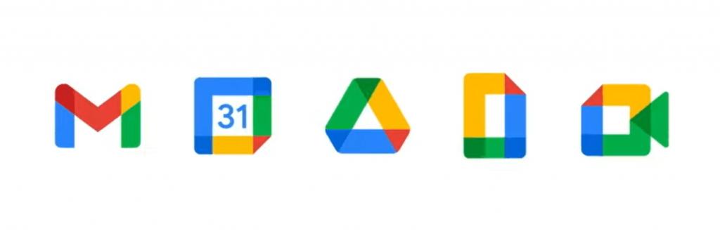 el nuevo logo de gmail en la familia de iconos de Google Workspace