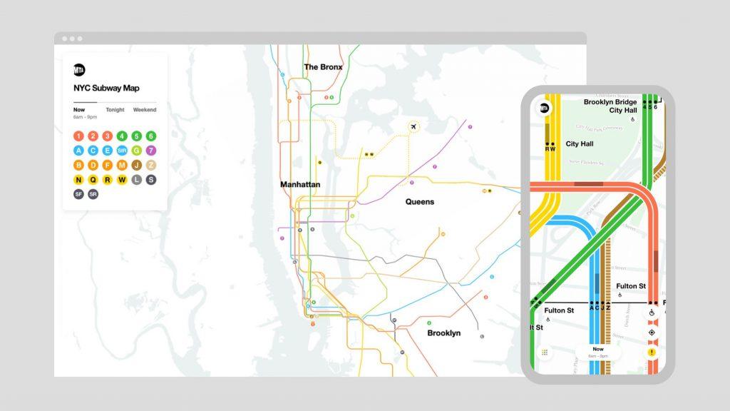 El nuevo rediseño del plano de metro de Nueva York se convierte en el primer mapa de metro digital en tiempo real