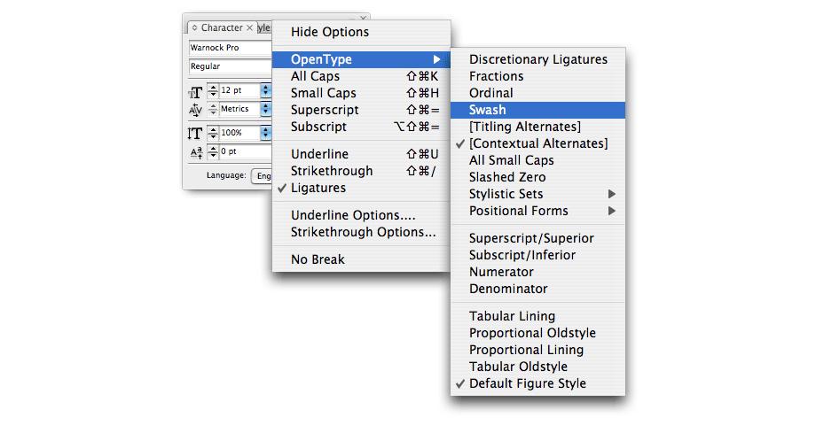 Opentype, Swash
