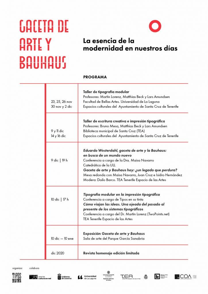 """Programa exposición """"Gaceta de Arte y Bauhaus"""""""