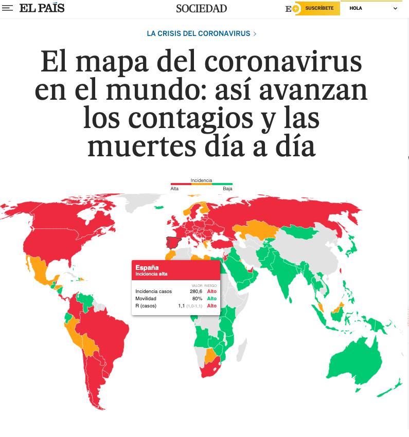 Comunicar mapa coronavirus