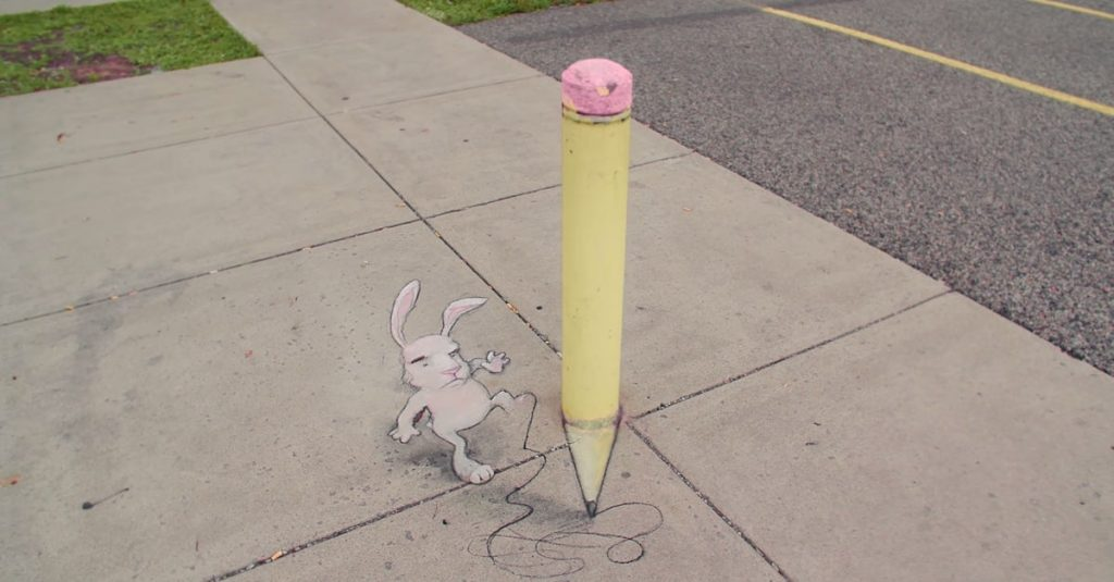 Dibujo de David Zinn, artista protagonista del corto Around the Block
