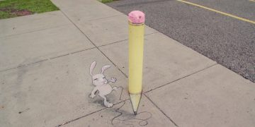 Dibujo de David Zinn, artista protagonista del corto Around the Block