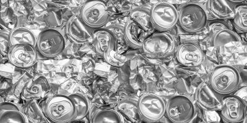 Aluminium recycling is scrap aluminium can be reused in products, abstract wallpaper, Recycle reuse and reduce concept save the earth, Industry background.