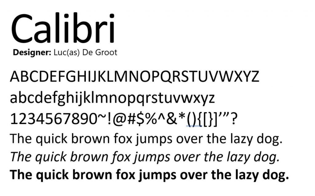 ¿Quién diseñó la tipografía Calibri?