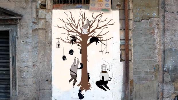 Los murales de Escif animados en 'Alienation'