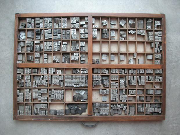 caja de tipos de plomo - oficio