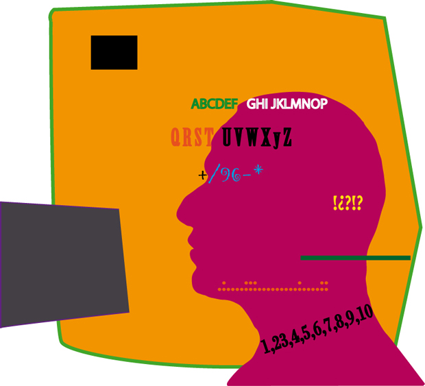 Diseñar el diseño, ilustración cabeza de hombre