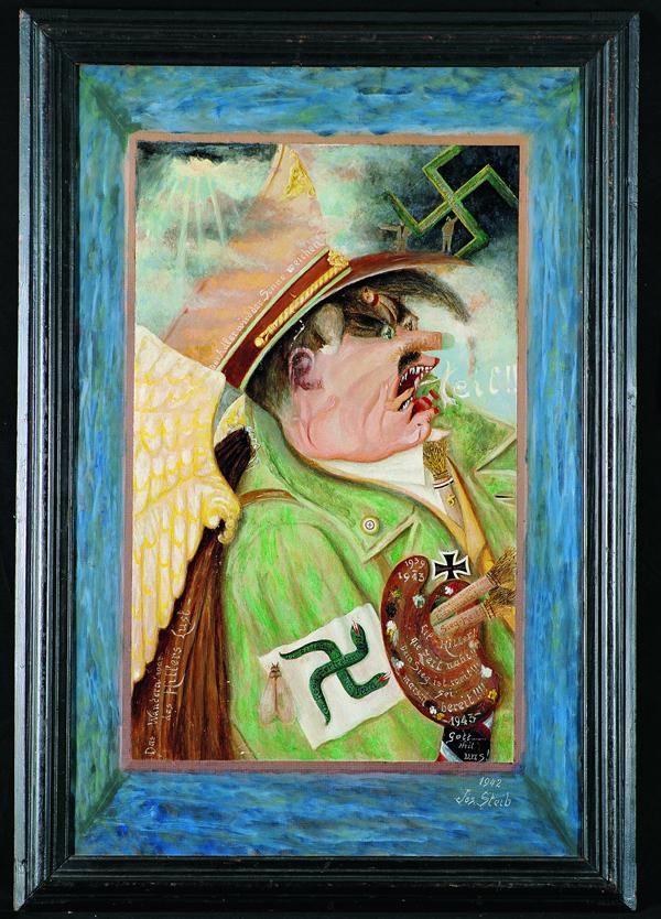 2. Joseph Steib (1898–1957) El conquistador (Le Conquérant), 1942 Óleo sobre falso cuero pegado sobre cartón 89 x 59,5 cm Colección particular, Francia