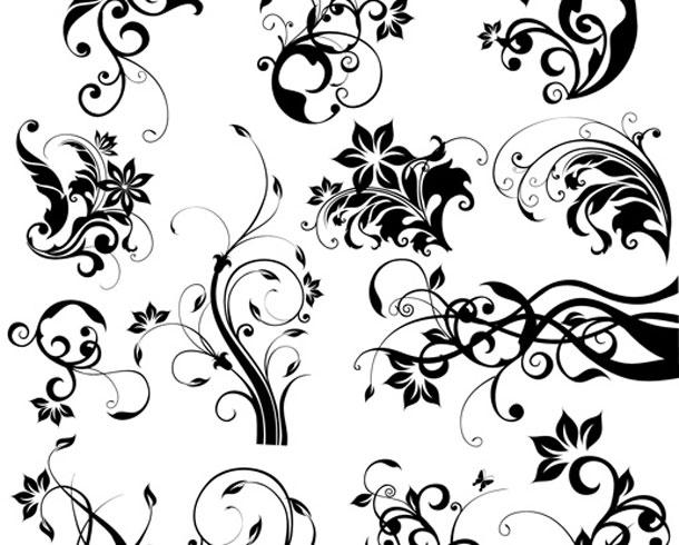 Motivos florales y ornamentos decorativos vectoriales gratis