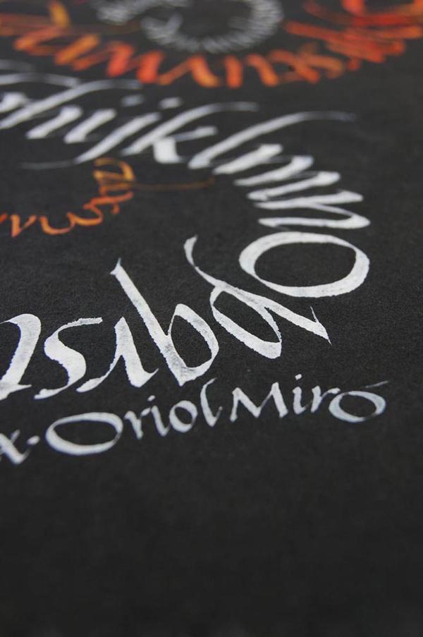 Oriol Miró, firma caligrafía