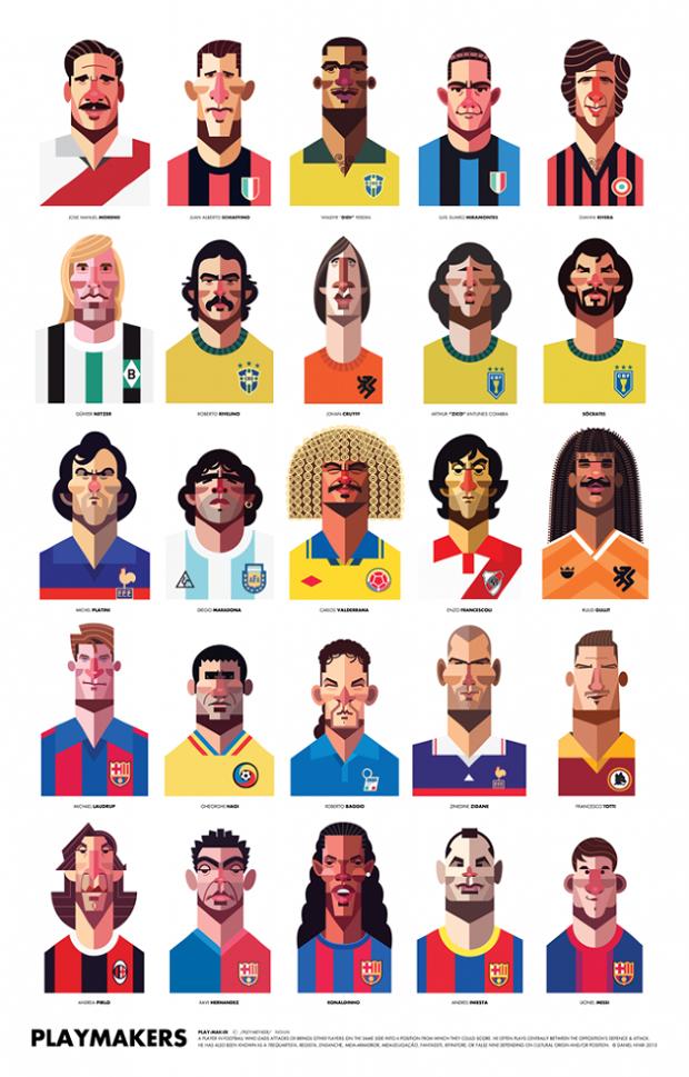 Los ases del fútbol ilustrados por Daniel Nyari