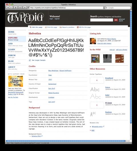 Typedia. La wikipedia de la tipografía