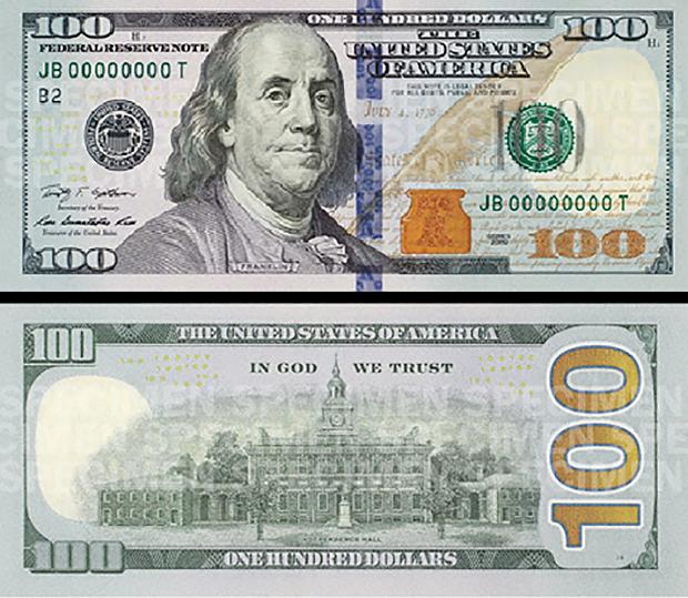 nuevo billete 100 dólares, anverso y reverso