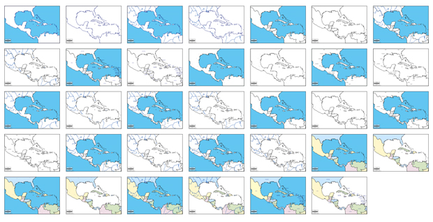 Mapas de América Central y Sudamérica vectoriales gratuitos