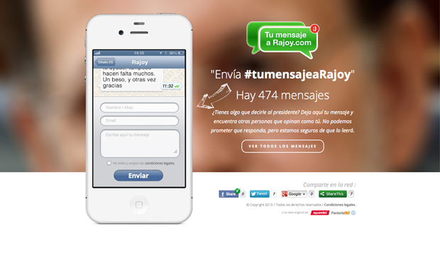 tumensajearajoy.com, aplicación para enviarle SMS directos al presidente del Gobierno Mariano Rajoy